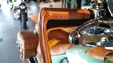 Genuine Indian Desert Tan Leather Motorcycle Grip Wraps W/ Fringe