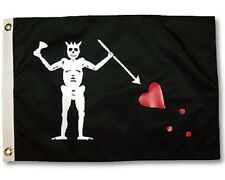 2x3 Jolly Roger Pirate Black Beard Black Beard Perma Dye Nylon Poly Flag 2'x3'