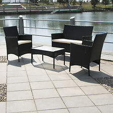 4 PCs Rattan Wicker Cushioned Sofa Table Seat Set Furniture Garden Chair