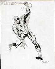 AL MILGROM SPIDERMAN ORIGINAL ART FULL FIGURE PINUP PAGE DRAWING EARLY 1980's