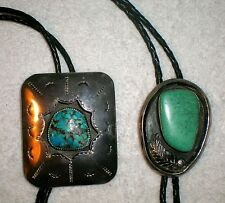 2 SIGNED LW VINTAGE NATIVE AMERICAN STERLING SILVER TURQUOISE BOLO TIES
