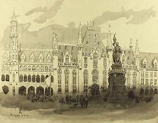 Wilhelm Körber: Marktplatz der Stadt Brügge in Belgien