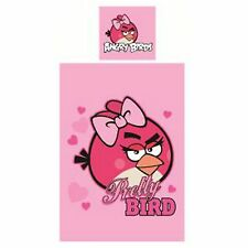 ANGRY BIRDS PINK PRETTY BIRD SINGLE DUVET COVER SET KIDS BEDDING NEW