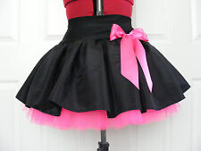 NEW HANDMADE GIRLS BLACK / FLO PINK TUTU SKIRT IRISH DANCE SCHOOL  8 - 10 YRS