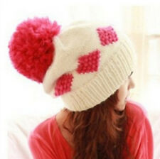 FD1414 Winter Warm Ball Knitted Beret Ski Pom Bobble Slouch Baggy Cap Hat ~Pink~