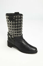 sz 6.5 M US Stuart Weitzman Moto Black Leather with Studs Moto Biker Boot Shoes