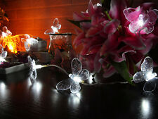 Battery Operated Butterfly Cool White LED String Lights, Christmas Party Lights