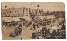 1909 RPPC Old Car Rally Touring Busy Street Scene Crowd Montrose CO Colorado