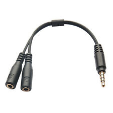 Y-Splitter Male to 2 Female 3.5mm Phone Mic Earphone Stereo Audio Adapter Cable