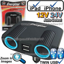 Energizer 50504 12v 24v 2 Way Twin USB Car Lighter Multi Socket Adaptor Charger