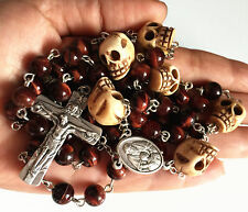 Tiger Eye Bead & oxe Bone Skull Rosary beads CRUCIFIX CATHOLIC NECKLACE CROSS