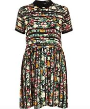 RIVER ISLAND Green striped floral print smock collar tea dress size 12