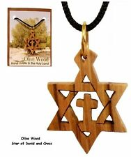 Handcarfted Genuine Olive Wood Cross, Star of David Pendant Necklace Holy Land