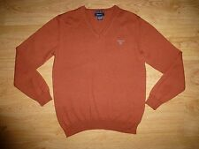 Men's Gant Thin Red-Brown V Neck Extra Fine Merino Wool Jumper Sweater Top S