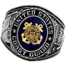 Official US Coast Guard Deluxe Engraved Silver Color Ring -Size 11
