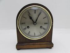 Vintage Petite Oak Body Striking Dome Top Mantel Clock Running Chime Need Repair