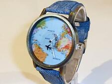 BRONZE WATCH WITH WORLD MAP & FAUX DENIM STRAP - GUARANTEED - FREE P&P....CG0175