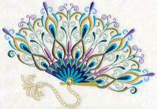 PEACOCK FANCIFUL FAN STUNNING NEW SET OF 2 BATH HAND TOWELS EMBROIDERED BY LAURA