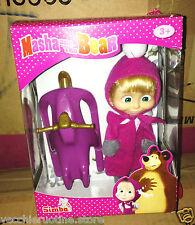 MASHA E L'ORSO bambola 12 cm doll SLITTA SNOWMOBILE SIMBA MASHA E ORSO and BEAR