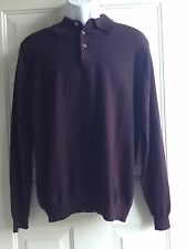 Brooks Brothers Men's Long Sleeve Merino Wool Brown Sweater Sz M