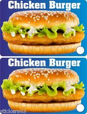 Chicken Burger stickers  set of 2  catering trailer takeaway cafe BBQ fish shop