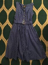 Hearts & Roses US 10 M Blue White Polka Dot Retro Pin Up Dress Anthropologie
