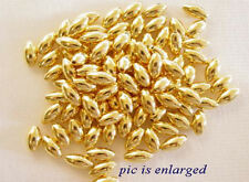 50 Gold Plated Smooth Oval Rice Beads