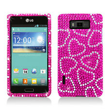 LG Optimus Showtime Crystal Diamond BLING Hard Case Phone Cover Hot Pink Hearts