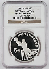 China 1990 Football 5 Yuan Silver Proof Coin NGC PF69 UC Goalie Soccer Goalie