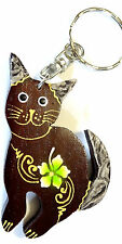 Porte clé clé Chat Bois Artisanal Fleur wooden key holder cle cat