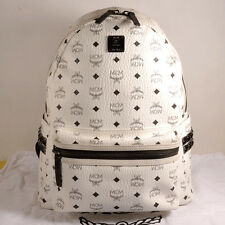 MCM STARK Medium White Backpack 100% Authentic  + Dust Bag