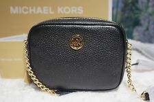 NWT MICHAEL Michael Kors FULTON Small Crossbody Bag BLACK Pebbled Leather $158