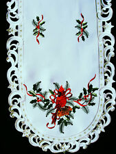 "Christmas Cardinal Embroidered Oval Lace Table Runner 15""x34"""