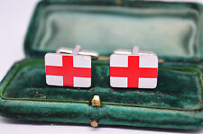 Vintage white metal cufflinks with an English flag design #C834