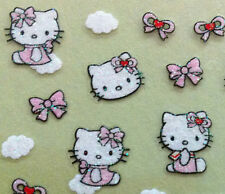 Nail Art 3D Sticker Glitter Decal Hello Kitty on Cloud Pink Bow 37pcs kids Girls