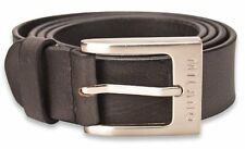 MILANO MENS 1.5INCH REAL FULL GRAIN LEATHER BELTS SILVER BUCKLE BLACK BROWN 2920