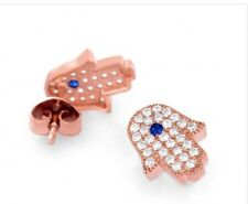 Rose Gold Plated 925 Sterling Silver Hamsa Hand Ear Studs