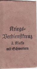Verleihungstüte zum Kriegsverdienstkreuz 1939 zweite Klasse mit Schwertern