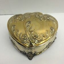 Vintage Ornate Silver Metal Footed Double Heart Roses Trinket Box Pink Lining