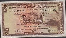 Hong Kong  $5  1.5.1964  P 181c  Sufix BB  Circulated Banknote