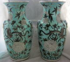"C19th Chinese Dragon Vases on Duck Egg Blue Ground Applied Handles 14"" - Damage"