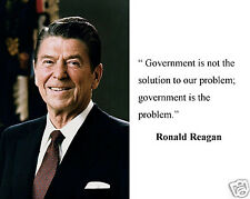 """Ronald Reagan """" Government is not the solution"""" Famous Quote 11 x 14 Photo #bk1"""