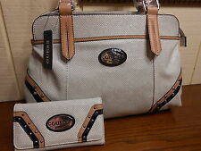 NWT GUESS GULFPORT WHITE SATCHEL HANDBAG W/ WALLET 100% AUTHENTIC