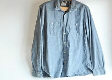 J CREW Mens XL Blue Chambray Shirt Long Sleeve Cotton Button Down Chinstrap
