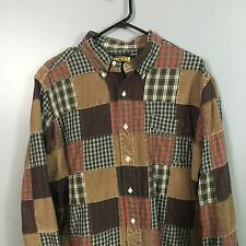 Ralph Lauren Rugby Patchwork Corduroy & Plaid Button Shirt Sz L Handwoven India