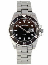 MENS NEW LA BANUS SUBMARINER WATCH STAINLESS STEEL BLACK DIAL DATE SILVER + TAG