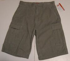 31 Young Mens UNIONBAY Flat Front Corduroy Cargo Shorts Winter Gray Cotton NWT