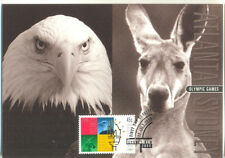 Australia-Olympic Games official card & stamp.Eagle-Kangaroo-1996