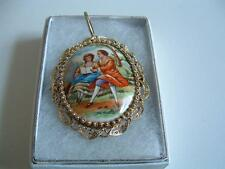Limoges brooch Porcelain Broach in box