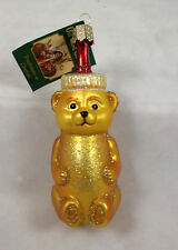 HONEY BEAR Glass Ornament Old World Christmas NEW IN BOX Honey Bear Bottle
